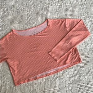 Land's End Cropped Long Sleeve Top in Pink & Coral